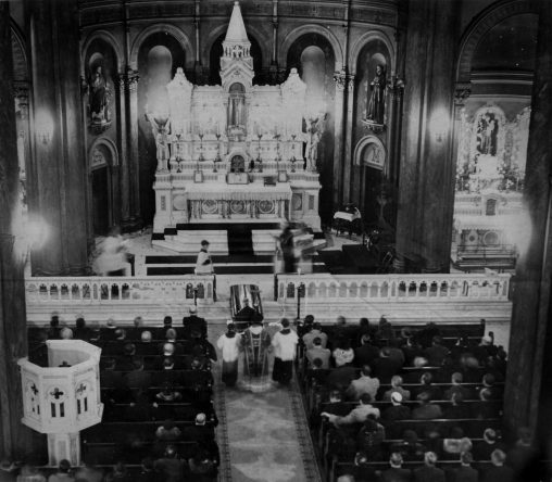 Interior of St. Peter's Church during Verona's funeral. This picture was published in The Pittsburgh Press on the day of the funeral. The print was later given to the Verona family.