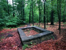 Sophia Gallatin's memorial in the woods a short walk on one of the trails. Gallatin married Sophia in May, 1789 and she died in Oct, buried in an unmarked grave at Friendship Hill over looking the Mon River.