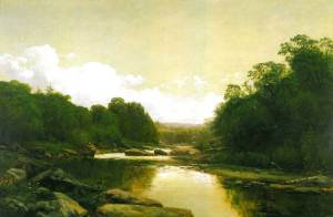 "A painting titled ""Fisherman on the Conemaugh,"" 1887 by George Hetzel is on display at the Westmoreland County Museum of Art in Greensburg, PA."