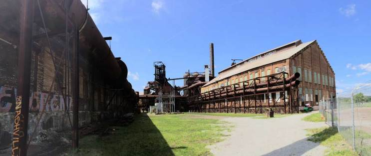A panorama view of Carrie Furnace in Rankin. (Lake Fong/Pittsburgh Post-Gazette)