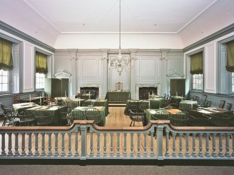 The Assembly Room at Independence Hall is among the most important locations in the United States. In this room in 1776 the Continental Congress declared independence from Britain, and in 1787 the U.S. Constitution was debated and signed. (Source: NPS)