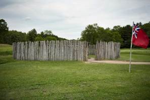 A representation of Fort Necessity stands at the Fort Necessity National Battlefield in Farmington on June 22, 2016. (Haley Nelson/Post-Gazette)