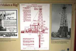 A diagram of a 1920s-era steel oil rig.