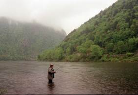John A. Punola casting for shad on the New Jersey side of the Delaware Water Gap in the Delaware River.