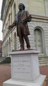 """Statute of Francis Pierpont, known as the """"Father of West Virginia,"""" outside the state's Independence Hall."""