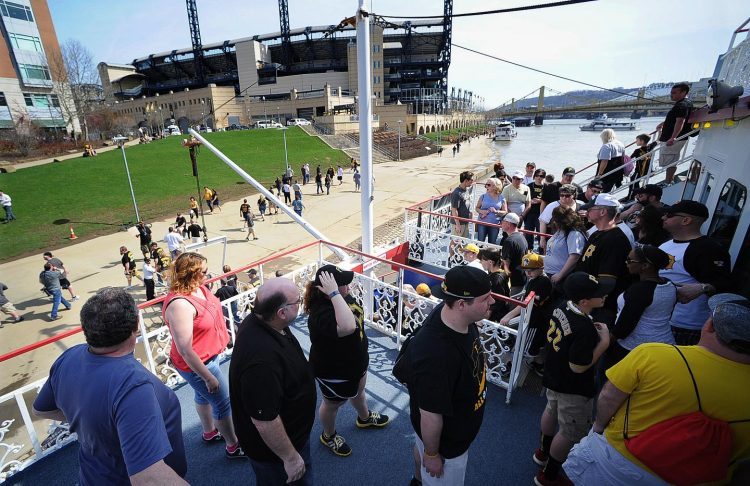 Hundreds of Pirates fans disembark the Gateway Clipper before the start of the game. (Nate Guidry/Post-Gazette)