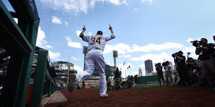 Pitcher A.J. Burnett takes the field during introductions. (Steve Mellon/Post-Gazette)