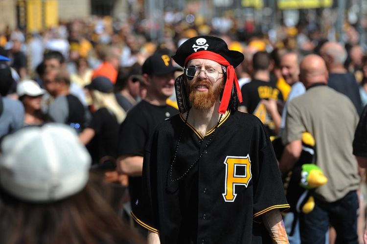 Stephen Santella of Ross gets in the mood for the Pirates opening day game against the Detroit Tigers at PNC Park on the North Side Monday (Rebecca Droke/Post-Gazette)