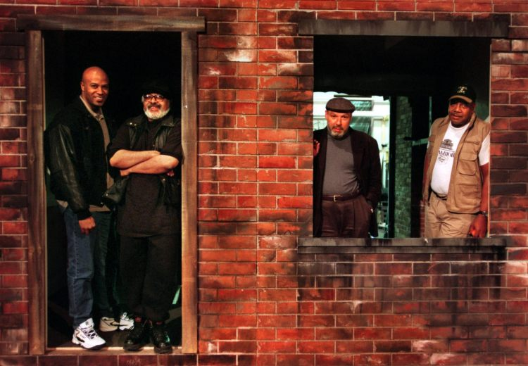 """On the set for """"Fences"""" at Pittsburgh Public Theater in 1999 are, from left,  Keith Glover, Marion McClinton, August Wilson and John Henry Redwood. (Bill Wade/Post-Gazette)"""