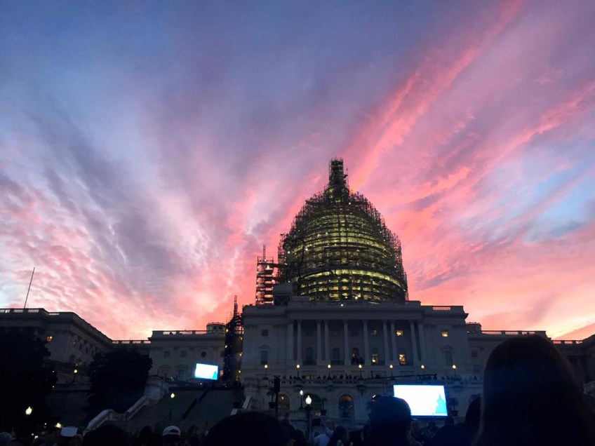 Crowds begin to gather outside the Capitol in Washington, D.C. Thursday morning in preparation for Pope Francis' arrival.