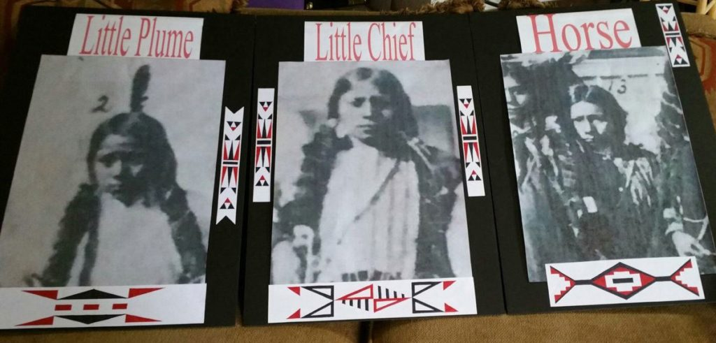 Little Plume, Little Chief and Horse as they appeared when they arrived at the Carlisle school.