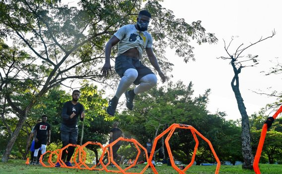 Pirates right fielder Gregory Polanco jumps over hoops during his workout at the National Botanical Garden Tuesday, December 5, 2017 in Santo Domingo, Dominican Republic. (Matt Freed/Post-Gazette)