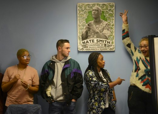 Summer Lee, second from right, jokes with Lauren Lynch-Novakovic of North Braddock during a Pennsylvania Student Power Network gathering on Wednesday, Feb. 14, 2018, on Pittsburgh's North Side. At left are Hope Sims-Medley, a senior at Chatham University, and Shawn Ramsay, a recent graduate of Duquesne University. Lee, a native of North Braddock who earned a law degree at Howard University, helped organize successful school-board races in the Woodland Hills district. She's now a state House District 34 candidate. (Steve Mellon/Post-Gazette)