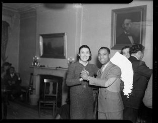 "Lena Horne dancing with Charles ""Teenie"" Harris in the Loendi Club in the Hill District in February 1938. ( © Carnegie Museum of Art, Charles ""Teenie"" Harris Archive )"