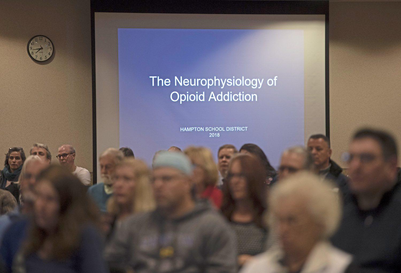 Attendees listen during the Hampton Community Opioid Partnership roundtable event on Thursday, Jan. 18, 2018, at the Hampton Community Center. (Steph Chambers/Post-Gazette)