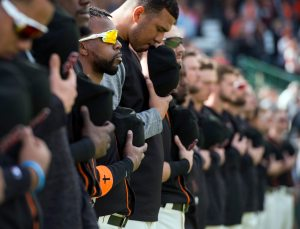 Andrew McCutchen stands for the national anthem. (Steph Chambers/Post-Gazette)