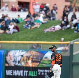 Andrew McCutchen makes his way to the outfield. (Steph Chambers/Post-Gazette)