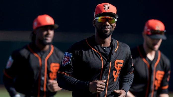 Outfielder Andrew McCutchen jogs between drills during San Francisco Giants spring training camp on Thursday, Feb. 22, 2018, at Scottsdale Stadium in Scottsdale, Ariz. (Steph Chambers/Post-Gazette)