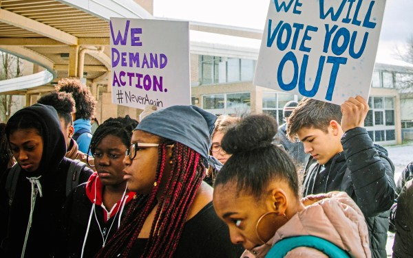 Students participate in the Woodland Hills Students Against Gun Violence Walkout