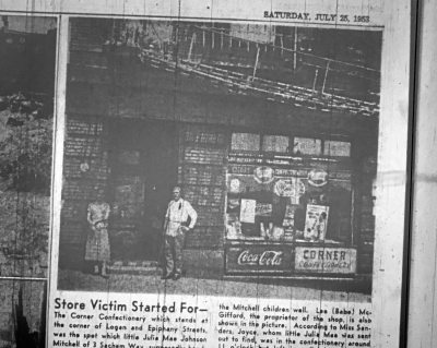 """Julia Mae was headed to the Corner Confectionery, also known as """"Mr. Babe's,"""" on Epiphany Street when she disappeared."""