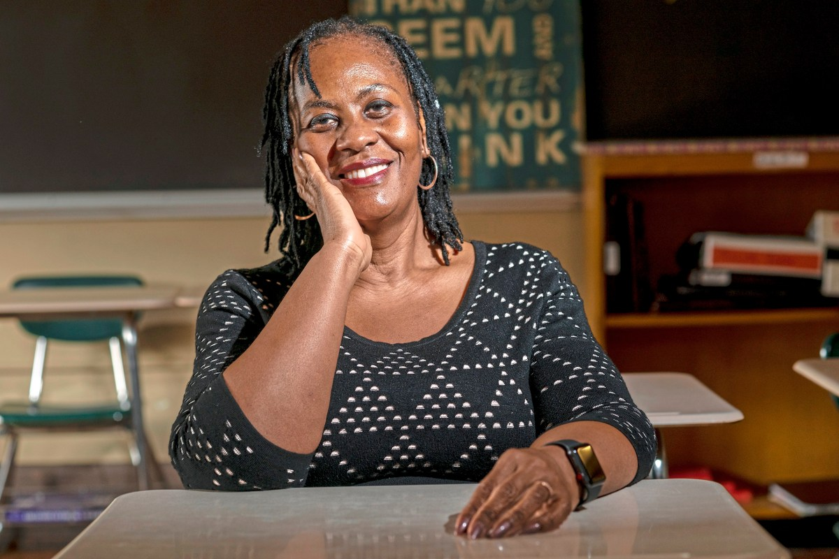 Mrs. Sharon Brentley of the North Side sits for a portrait, Friday, Feb. 15, 2019, at Perry Traditional Academy in the North Side. ÒI was scared to death. ItÕs a high school where there was a race riot. And I was like what the hell did we get into. It was very traumatic.Ó Mrs. Sharon Brentley  was part of Pittsburgh Perry High SchoolÕs Class of 1977 who were the first students to attend the Northside school all four years after it formally integrated in 1973.  (Michael M. Santiago/Post-Gazette)