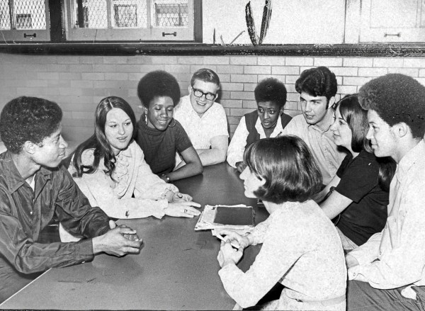 """The Committee,"" a steering group of students formed to help address some of the problems at the time, meets to discuss racial harmony at Perry High School, April 23, 1970. (Pittsburgh Press)"