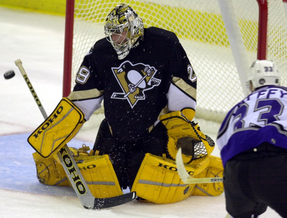 Penguins goalie Marc-Andre Fleury stops a shot from Los Angeles Kings forward Ziggy Palffy in the second period Oct. 10, 2003, at Mellon Arena. Fleury, the top pick in the 2003 NHL draft, stopped 46 of the 48 shots he faced in his debut. (Gene J. Puskar/Associated Press)