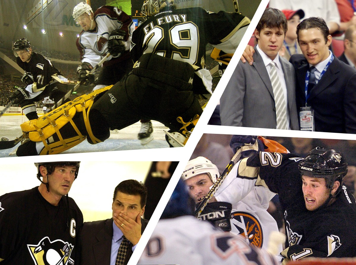 Clockwise from top left: Marc-Andre Fleury makes a save Jan. 24, 2004; Evgeni Malkin poses Alexander Ovechkin at the draft June 26, 2004; Owner-captain Mario Lemieux and coach Eddie Olczyk leave the ice Oct. 10, 2003; Ryan Malone  fights for the puck Dec. 29, 2003. (Photos by Post-Gazette & Associated Press)
