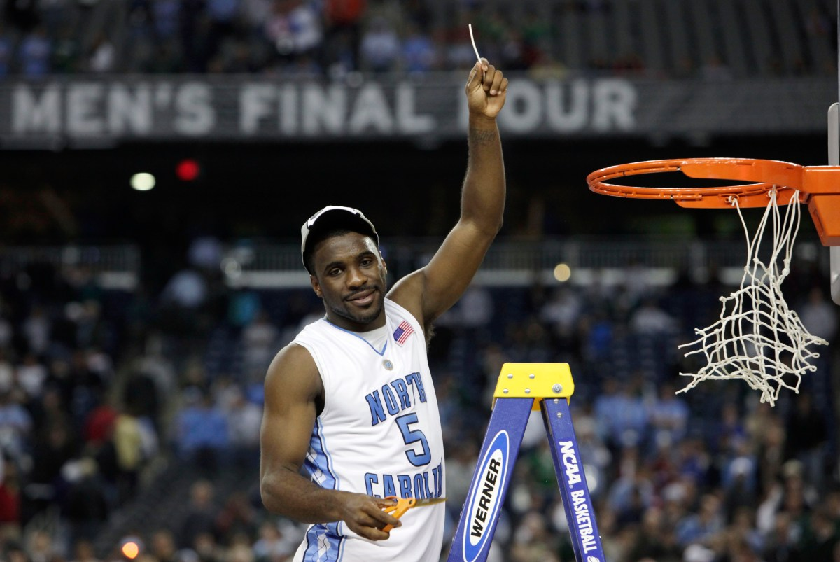 North Carolina's Ty Lawson celebrates after his team's 89-72 victory over Michigan State in the championship game at the men's NCAA Final Four college basketball tournament, Monday, April 6, 2009, in Detroit.  (AP Photo/Paul Sancya)