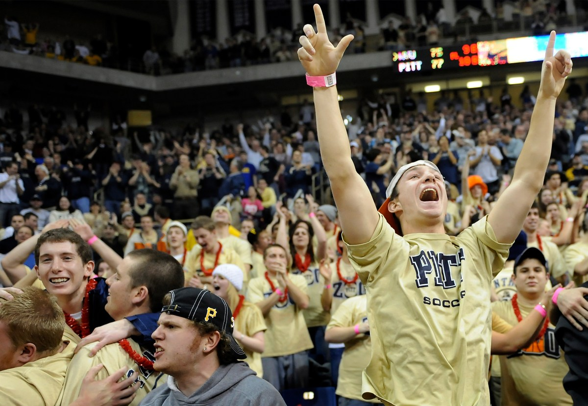 Pitt fans cheer on their team as they take on West Virginia on Feb. 13, 2010, at the Petersen Events Center. (Matt Freed/Post-Gazette)