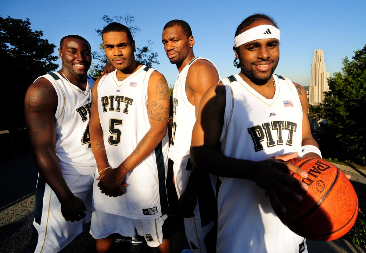 Pitt basketball players, from left: DeJaun Blair, Tyrell Biggs, Sam Young and Levance Fields on Oct. 9, 2008, in Oakland. (John Heller/Post-Gazette)