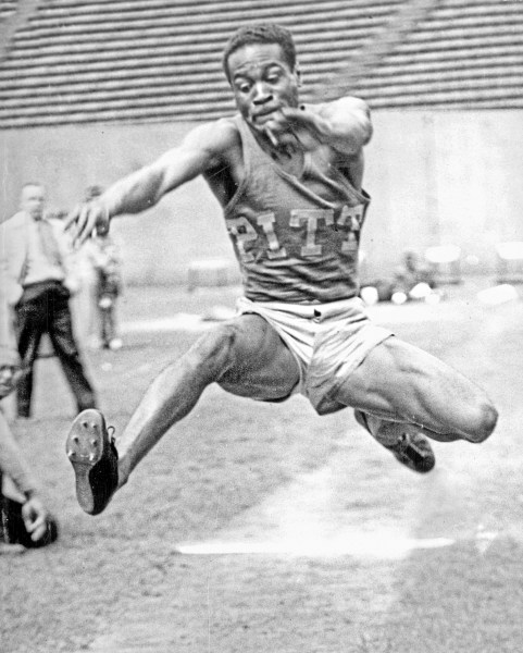 In 1948, Herb Douglas Jr. competes in the long jump for the University of Pittsburgh. (Courtesy of Heinz History Center)