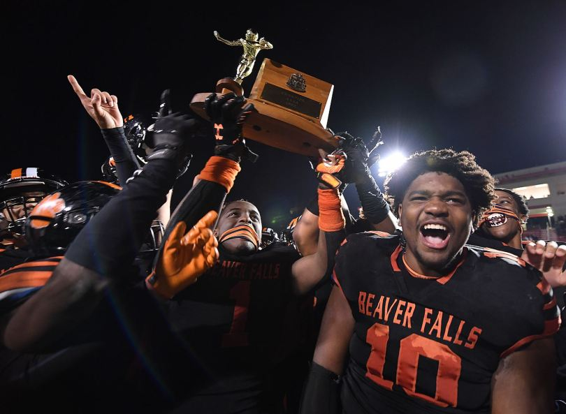 Beaver Falls' Joshua Hough, right, celebrates after beating Sto-Rox for the WPIAL AA Championship, Saturday, Nov. 14, 2020, at Martorelli Stadium in West View. (Peter Diana/Post-Gazette)