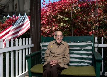 WWII veteran and former POW Rodney Chapman, 98, poses for a portrait at his home, Oct. 13, 2020, in Freeport. Mr. Chapman served in France in the U.S. Army's 30th Infantry Division and spent seven months and 22 days as POW in a German prison camp. He was awarded the Bronze Star and Purple Heart. (Nate Guidry/Post-Gazette)