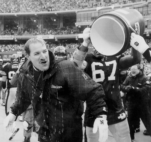 Bill Cowher is doused by Duval Love after the Steelers' win over the Cleveland Browns