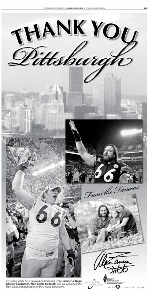 Alan Faneca took out an ad in the Post-Gazette to thank Steelers fans for their support on his way out of town in April 2008.