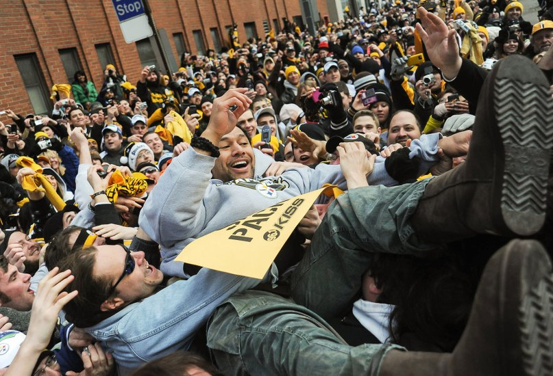Troy Polamalu crowd surfs during the Steelers Super Bowl victory parade Downtown in 2009.