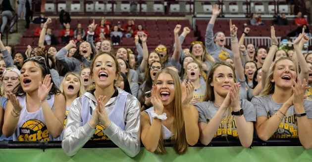 Notre Dame Academy students cheer against Pickerington during a girls Division I state semifinal basketball game Friday, March 15, 2019, at the Jerome Schottenstein Center in Columbus, Ohio.THE BLADE/JEREMY WADSWORTH SPT D1stateGBK16