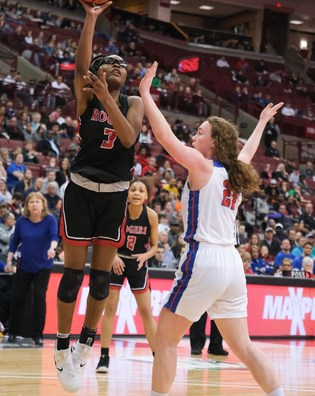 Rogers' Madison Royal-Davis (3) shoots against Dayton Carroll's Elisabeth Bush (21) during a girls Division II State Championship basketball game Saturday, March 16, 2019, at the Jerome Schottenstein Center in Columbus, Ohio. THE BLADE/JEREMY WADSWORTH SPT D2stateGBK17