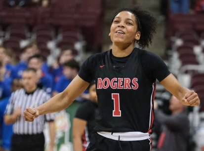 Rogers' Zia Cooke (1) reacts to winning the girls Division II State Championship after defeating Dayton Carroll, 56-45, Saturday, March 16, 2019, at the Jerome Schottenstein Center in Columbus, Ohio.THE BLADE/JEREMY WADSWORTH SPT D2stateGBK17