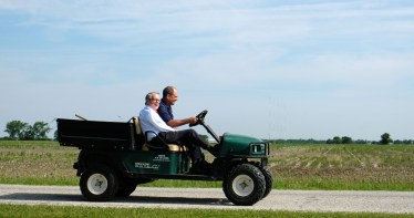 After touring a water-damaged rye field in Perrysburg, Ohio Governor Mike DeWine, left, and farm owner Kris Swartz head back to a barn to meet with other farmers in Perrysburg, Ohio on Wednesday, June 19, 2019. THE BLADE/LORI KING