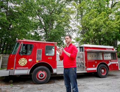 Kevin Mullan, vice president of business development at Thread Marketing Group and founder-owner of tapped419.com, on June 17, 2019 shows off his once-regulation firetruck that he has converted into a beer truck. THE BLADE/PHILLIP L. KAPLAN