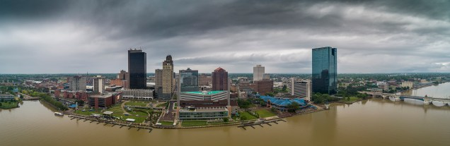 Storm clouds move over Toledo as seen in this aerial panograph, Thursday, June 20, 2019.THE BLADE/ANDY MORRISON