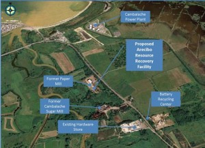 The proposed waste-to-energy plant's location in Arecibo.