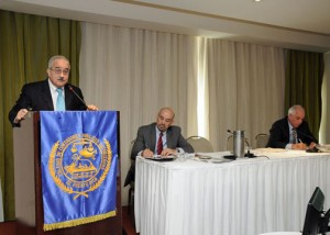 Economist Juan Lara (at podium) outlines his perspectives of the current and future status of the island's construction sector.