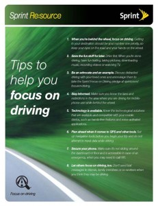 Sprint has created a list of tips to help customers focus on driving.