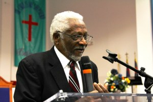 Raymond Joseph, Haiti's former ambassador to the United States, speaks about his new organization, A Dollar A Tree for Haiti, at the Mount Nebo AME Church in Bowie, Maryland.