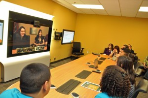"""Puerto Rico students connect with other high schools using """"AT&T Telepresence Solution,"""" AT&T's advanced, high definition videoconferencing service."""