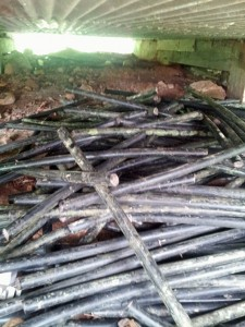 A stash of stolen copper cable conduits is found during a raid of a home in Las Marías. (Credit: Claro Puerto Rico)