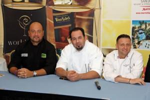 From left: Chef Mario Pagán (Laurel + Lemongrass), Chef Pedro Torres (En Boga GastroBar), and Chef David Chaymol (Bistro de París).